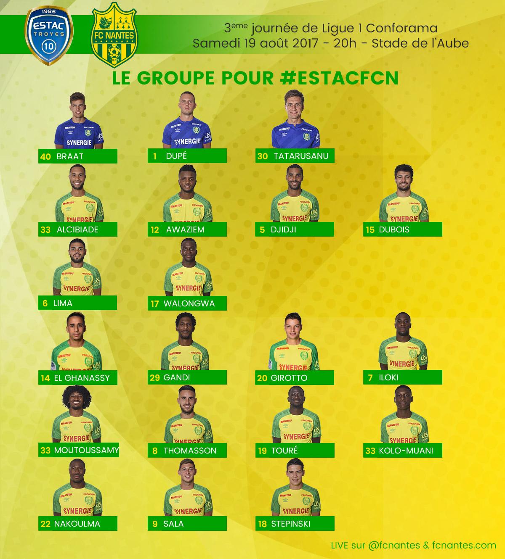 L1 . J3 . ESTAC TROYES / FC NANTES ... Samedi 19 Août 2017 - 20H00 ... Stade de l'AUBE ... !  P1groupe180817