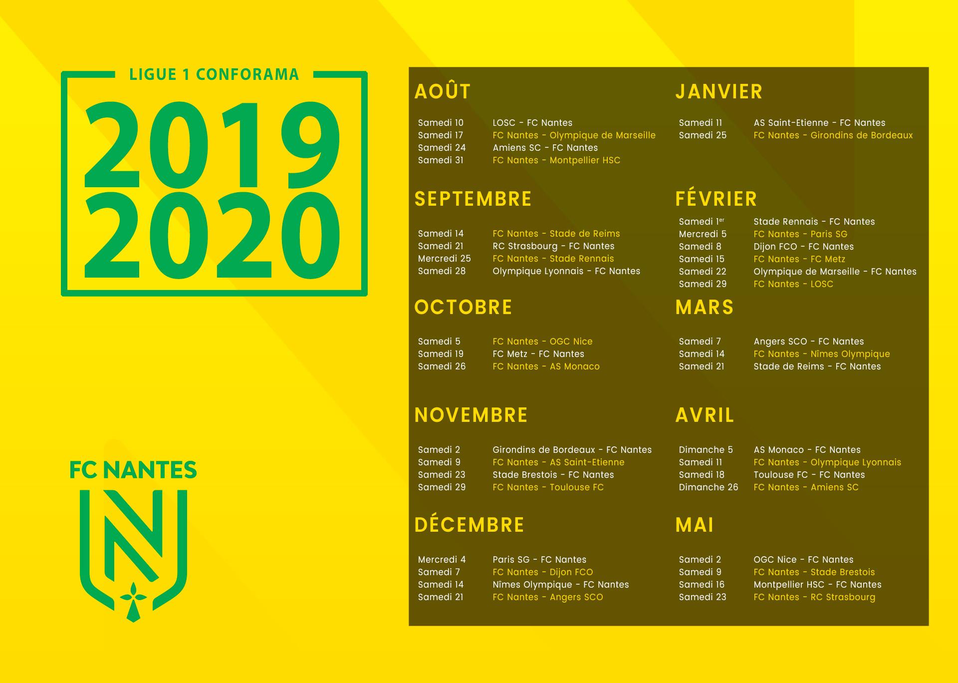 Calendrier Des Girondins De Bordeaux.Le Calendrier 2019 2020 Devoile
