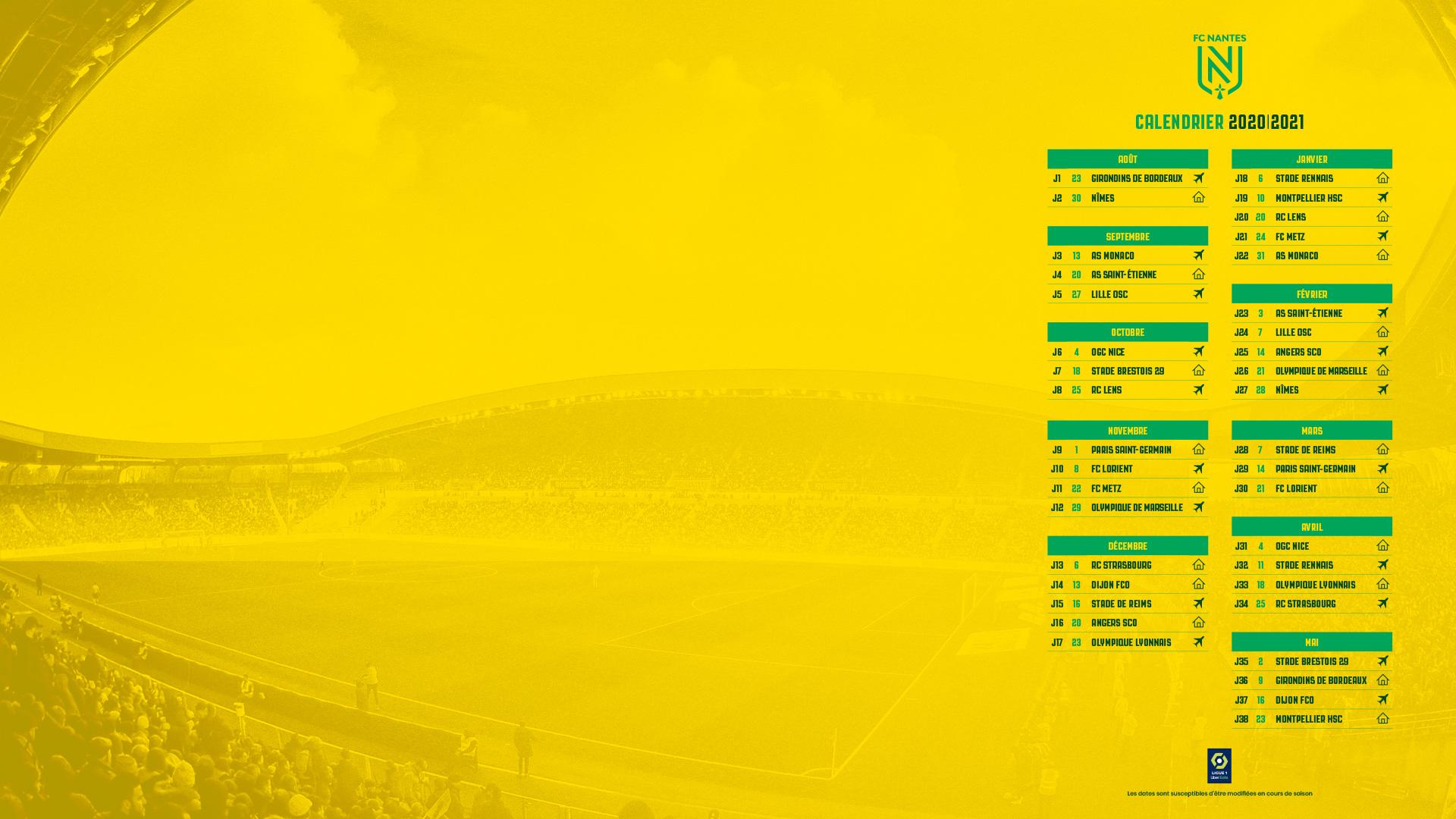 calendrier saison2020 | 2021